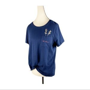 J Crew Collector Pocket Tee Oh Deer Holiday Navy